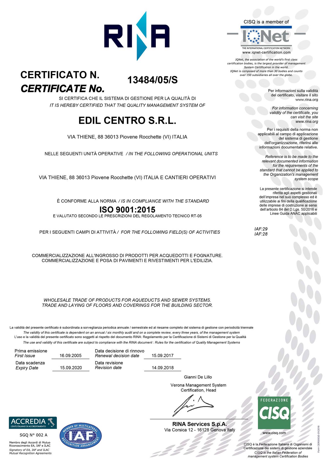 Certificato-ISO-9001-2015-Edil-Centro